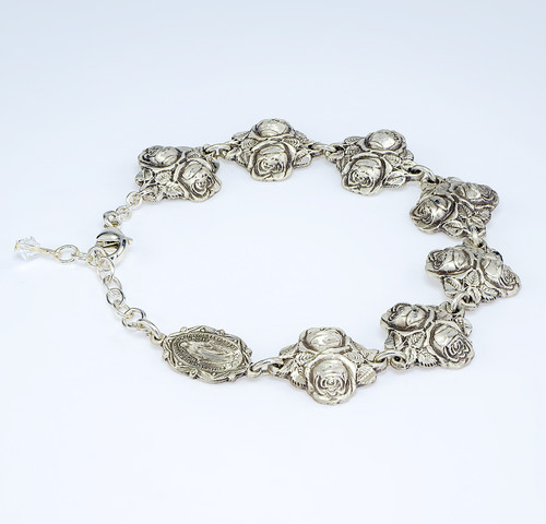 Solid Sterling Silver Double Rose Bud Beads with Patron Saints