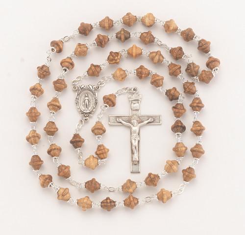 Solid Walnut Bicone Bead Rosary