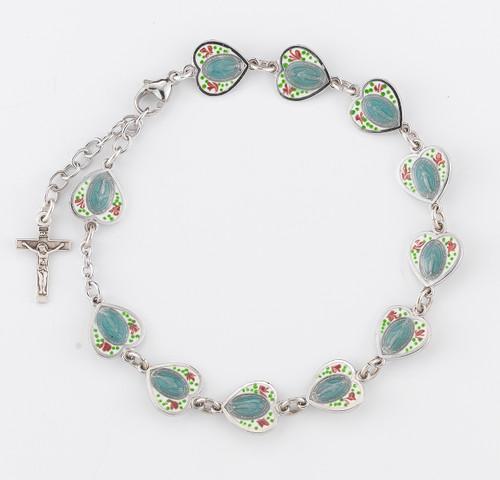 Sterling Silver Cloisonné Enameled Miraculous Heart Rosary Bracelet