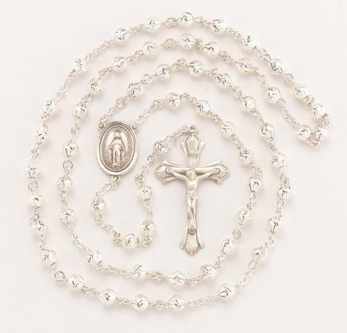 Sterling Silver Herringbone Engraved Rosary