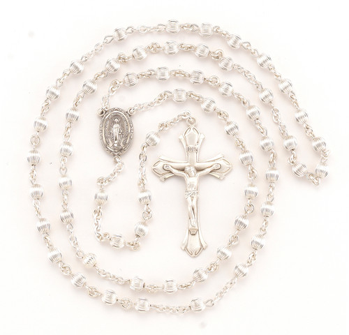 Straight Corrugated Sterling Silver Rosary | Budded Crucifix
