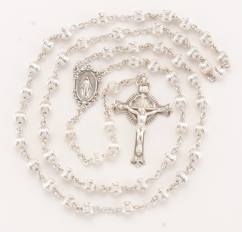 Straight Corrugated Sterling Silver Rosary | Flared End Crucifix