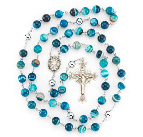 Striped Blue Agate Rosary