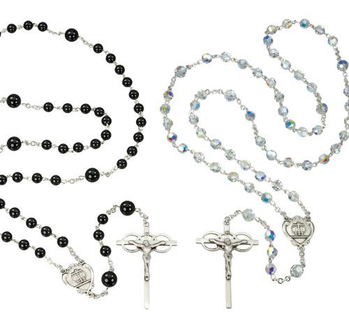 Swarovski Crystal and Onyx Bead Wedding Rosary Set