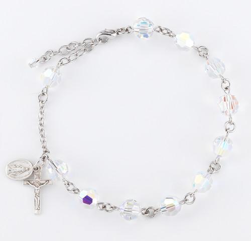 Swarovski Crystal Aurora Borealis Round Rosary Bracelet