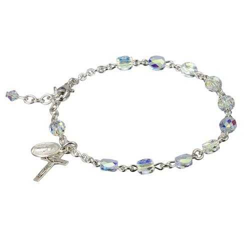Swarovski Crystal Aurora Borealis Semiflat Sterling Silver Rosary Bracelet