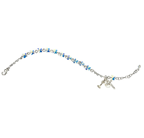 Swarovski Crystal Aurora Butterfly Bead Rosary Bracelet