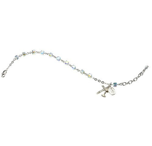 Swarovski Crystal Aurora Cube Bead Rosary Bracelet