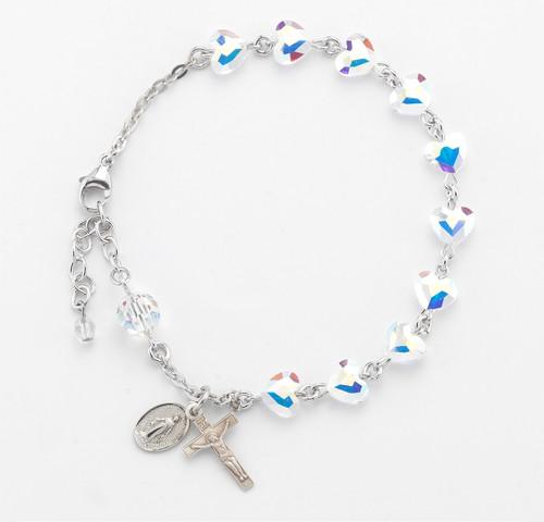 Swarovski Crystal Aurora Heart Shaped Bead Sterling Silver Rosary Bracelet