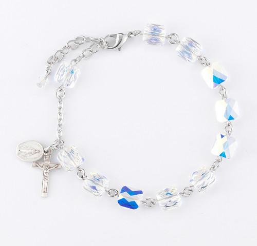 Swarovski Crystal Aurora Multi Faceted Bead Sterling Silver Rosary Bracelet