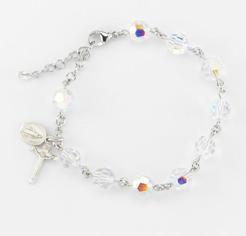 Swarovski Crystal Aurora Multi-Faceted Rosary Bracelet | 8mm Beads