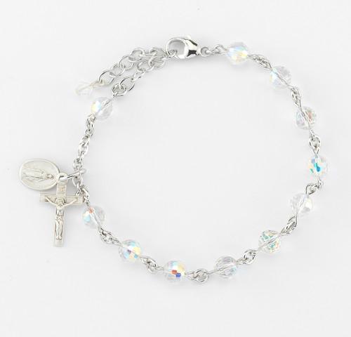 Swarovski Crystal Aurora Multi-Faceted Rosary Bracelet | 6mm Beads