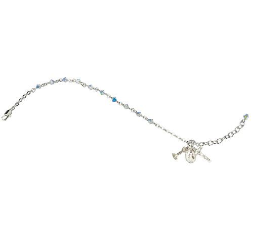 Swarovski Crystal Aurora Rondelle Bead Rosary Bracelet | 4mm Beads