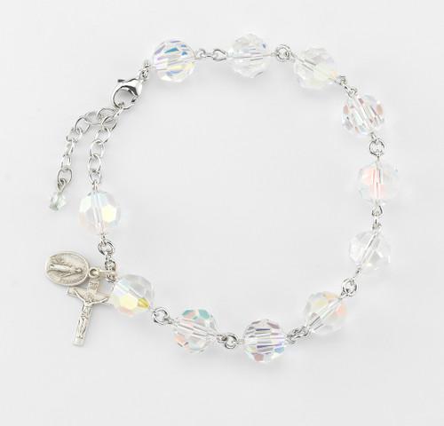 Swarovski Crystal Aurora Round Faceted Rosary Bracelet