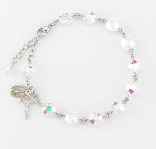 Swarovski Crystal Aurora Semi-Flat Sterling Silver Rosary Bracelet | 8mm Beads