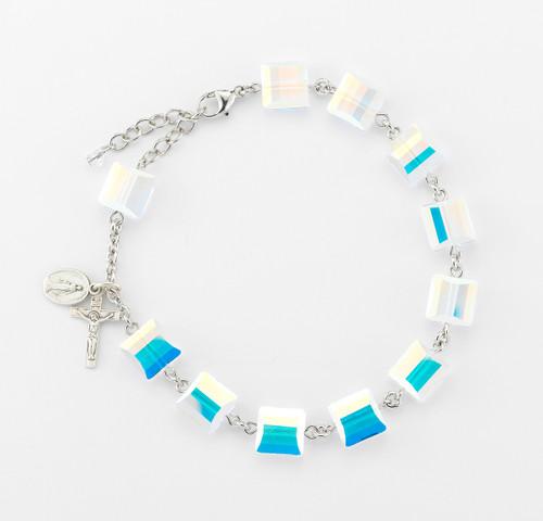 Swarovski Crystal Aurora Square Bead Sterling Silver Rosary Bracelet