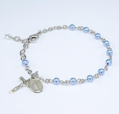 Swarovski Crystal Blue Imitation Pearl Rosary Bracelet