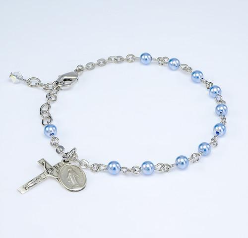 Crystal Blue Imitation Pearl Rosary Bracelet