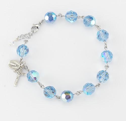 0958507c7 Swarovski Crystal Light Sapphire Round Shaped Sterling Silver Rosary  Bracelet