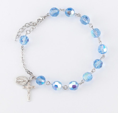 c093cff58 Swarovski Crystal Light Sapphire Round Sterling Silver Rosary Bracelet