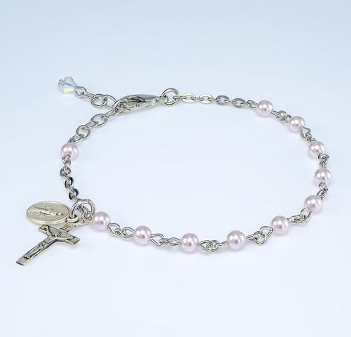 Swarovski Crystal Pink Imitation Pearl Rosary Bracelet | 4mm Beads
