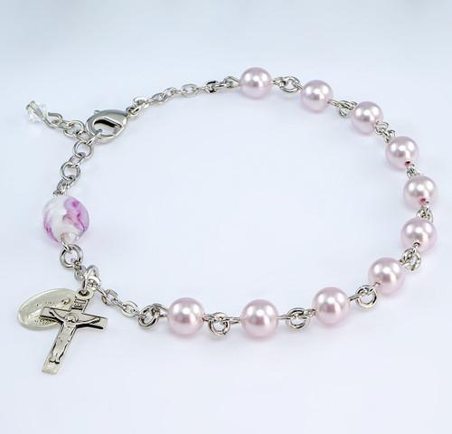 Swarovski Crystal Pink Imitation Pearl Rosary Bracelet | 6mm Beads