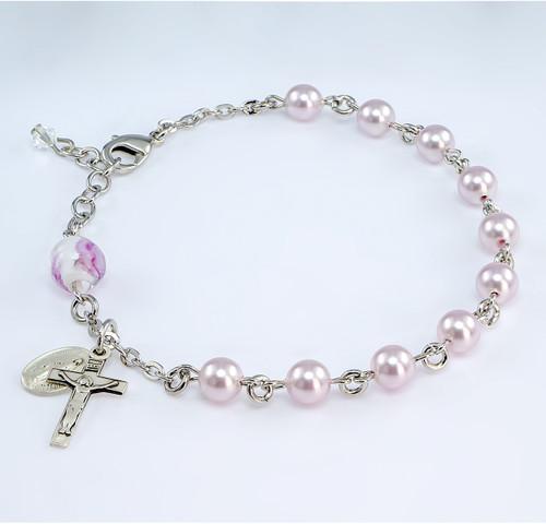 Swarovski Crystal Pink Pearl Rosary Bracelet | 6mm Beads