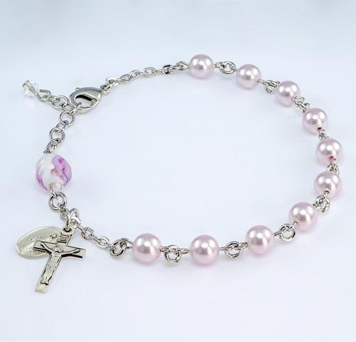 Swarovski Crystal Pink Pearl Rosary Bracelet