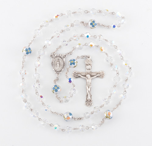 Swarovski Crystal Sterling Silver Rosary   Painted Flower Beads