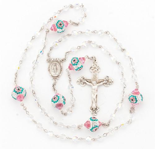 Swarovski Crystal Sterling Silver Rosary   5mm Beads