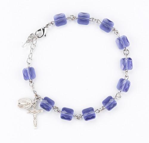 Swarovski Crystal Tanzanite Multi Faceted Bead Sterling Silver Rosary Bracelet