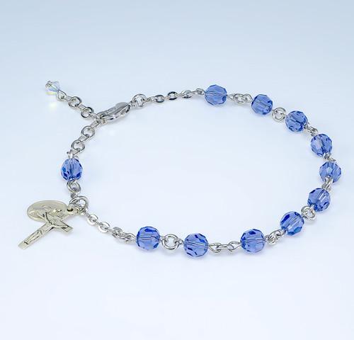 Swarovski Crystal Tanzanite Round Shaped Rosary Bracelet