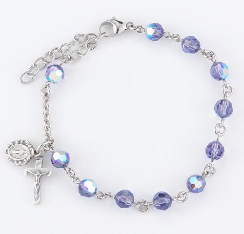 Swarovski Crystal Tanzanite Round Shaped Rosary Bracelet | 6mm Beads