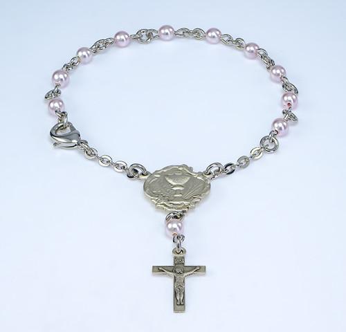 Swarovski Pink Pearl Rosary Bracelet