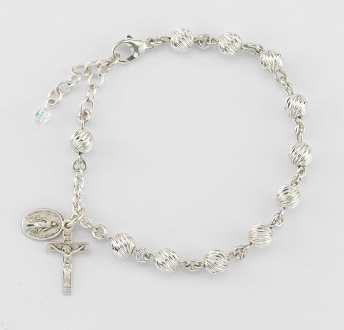 Swirl Corrugated Sterling Silver Rosary Bracelet