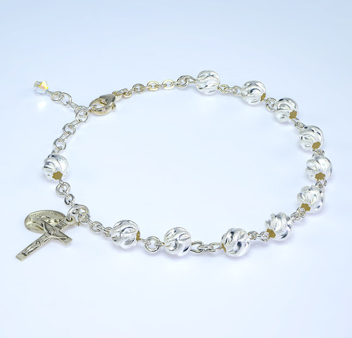 Swirl Semi-Frosted Round Sterling Silver Rosary Bracelet