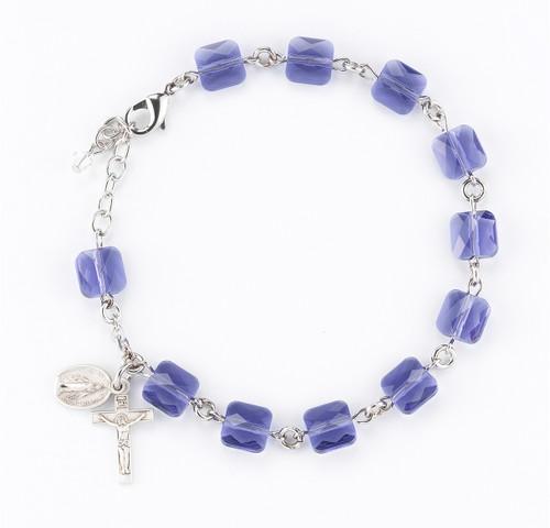Tanzanite Multi-Faceted Square Swarovski Crystal Rosary Bracelet