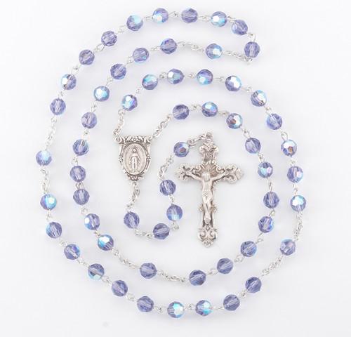 Tanzanite Swarovski Crystal Rosary | 6mm Beads