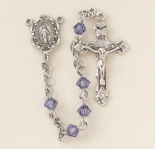 Tanzanite Swarovski Crystal Rosary   4mm Beads