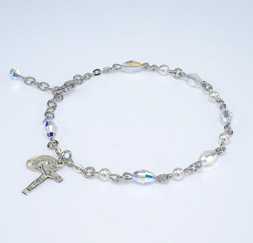 White Pearl and Aurora Borealis Oval Swarovski Crystal Rosary Bracelet