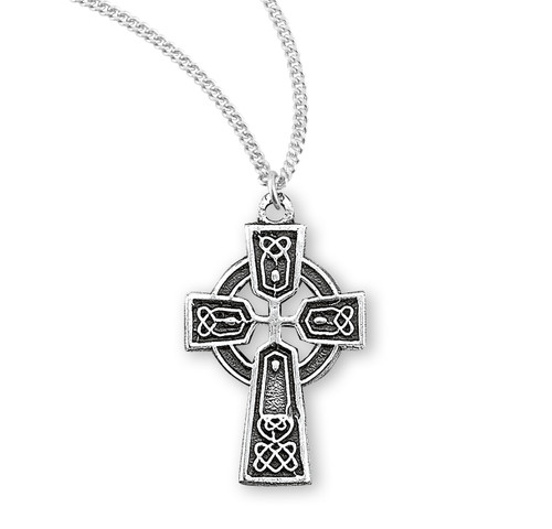 "Sterling Silver Baby Irish Celtic Cross Pendant | 13"" Chain"