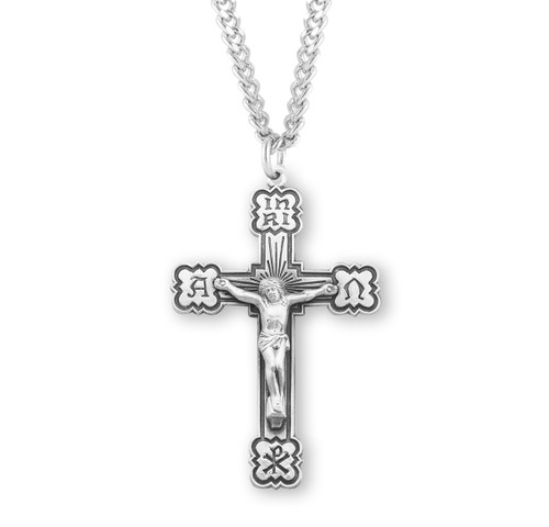 "Alpha Omega Sterling Silver Crucifix | 24"" Endless Curb Chain"