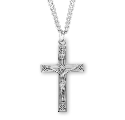 Art Deco Style Sterling Silver High Polished Crucifix