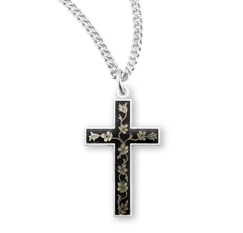 Black Enameled Sterling Silver Cross