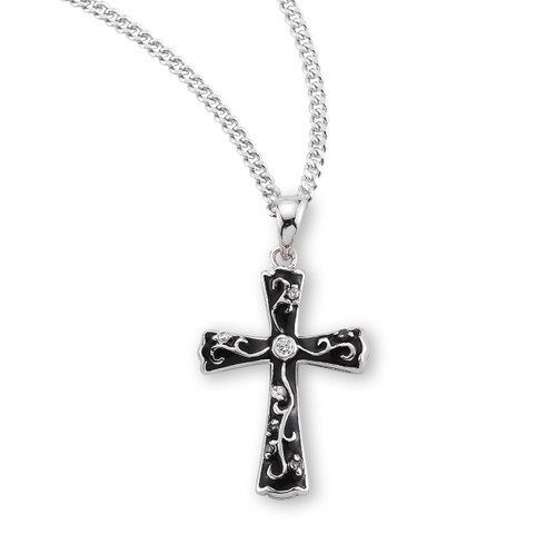 """Black Enameled Sterling Silver Cross with Crystal Cubic Zirconia's """"CZ's"""""""