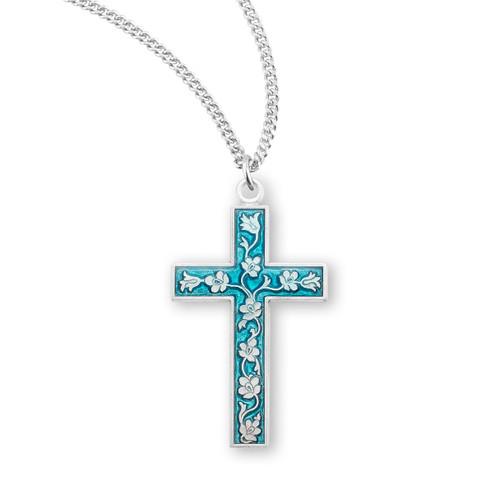Blue Enameled Sterling Silver Cross