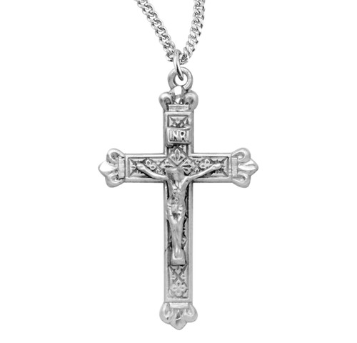 """Budded Tip Sterling Silver Crucifix 
