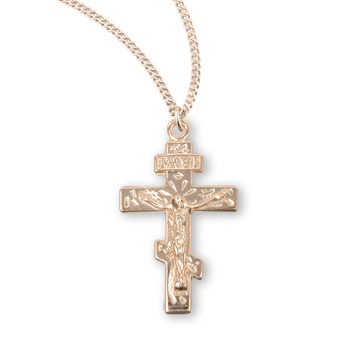 Byzantine Gold Over Sterling Silver Crucifix