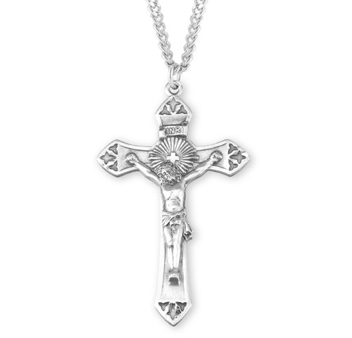 "Cross Burst Sterling Silver Crucifix | 24"" Endless Curb Chain"