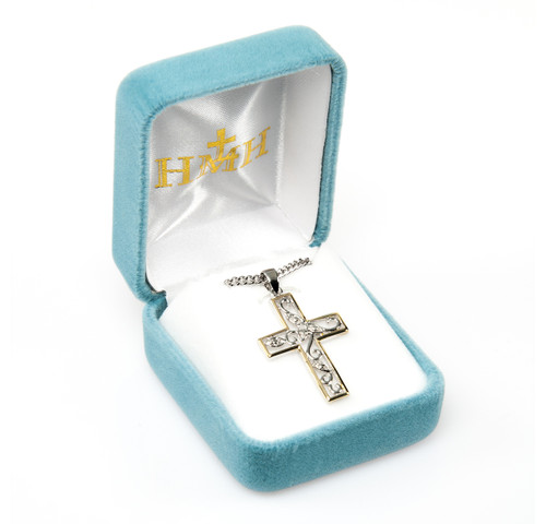 """Crystal Cubic Zirconia's """"CZ's"""" Sterling Silver Two Tone Vine Cross"""